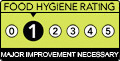 Food hygiene rating 1. Major Improvement Necessary